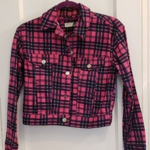 Topshop plaid denim  motoJean jacket